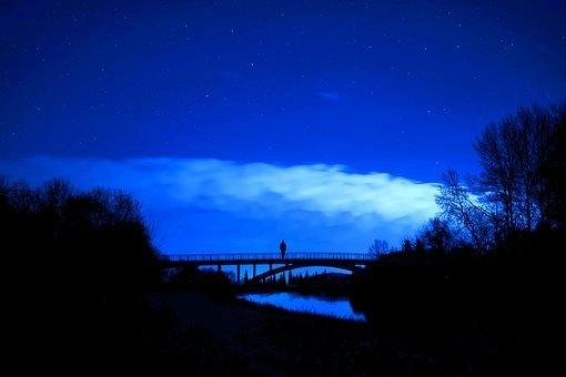 Edits, Night, Nighttime, Stars, River, Bridge, Clouds