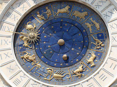 Clock, Venice, Architecture, Monument, Blue, Golden