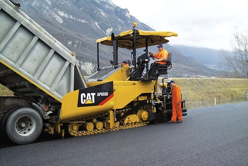 Asphalt, Pavers, Cat, Ap655d, Road, Construction, Pile