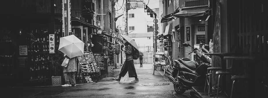 Black And White, People, Man, Woman, Umbrella, Wet