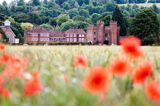 Uk, Countryside, Poppies, Poppy, Stately Home