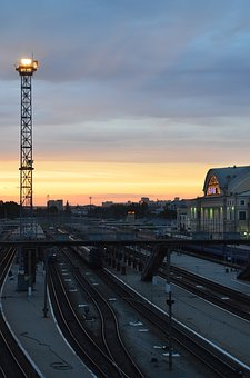 Station, Rails, Trains, Stand By, Sunset, Evening, Sky