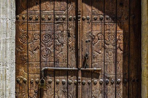 Cyprus, Athienou, Ayios Georgios, Door, Wood Carved