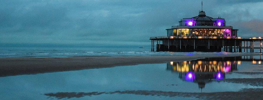 Pier, Blankenberge, Sea, Beach, Holiday, Air