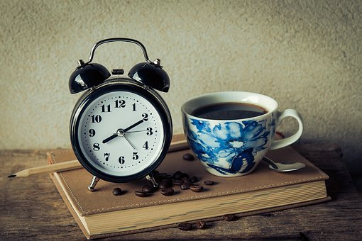 Vintage, Alarm, Clock, Book, Pencil, Coffee, Drink