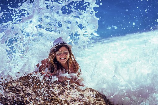 People, Girl, Woman, Laugh, Happy, Swimming, Sea, Ocean