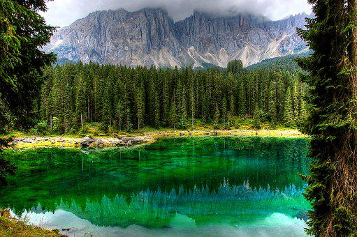Dolomites, Karersee, Bergsee, Nature, South Tyrol, Lake