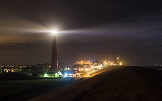 Night, Lighthouse, Lights, City, Sea, Lake, North Sea