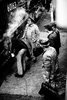 People, Men, Standing, Waiting, Train, Station, Smoke