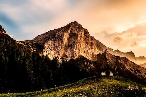 Austria, Chapel, Landscape, Mountains, Valley, Forest