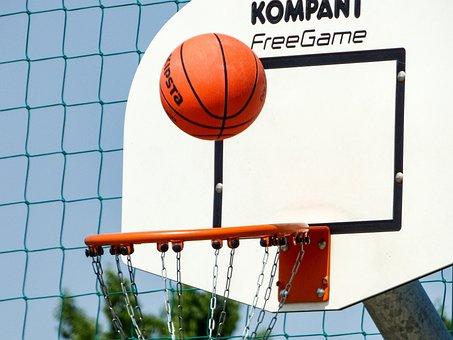 Basketball, Sports, Ball, Game, Palisade, Sky, Ring