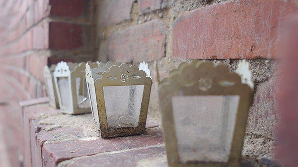 Candle, Brick, Old, Home, Window, Red, Wall, Building