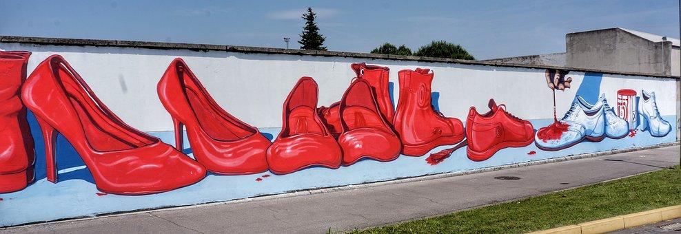 Red, Shoes, Dye, White, Large, Street, Art, Graffiti