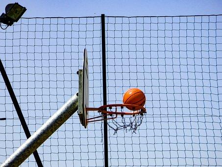 Basketball, Sports, Ball, Sky, Palisade, Ring, Game
