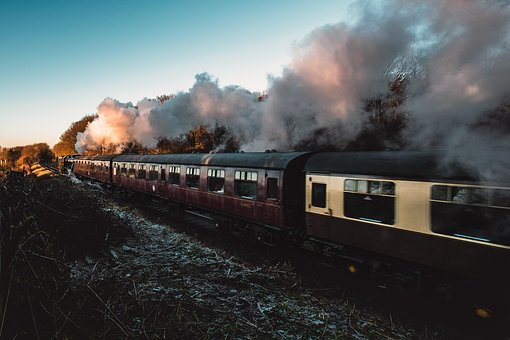 Trail, Train, Station, Ride, Transportation, Smoke