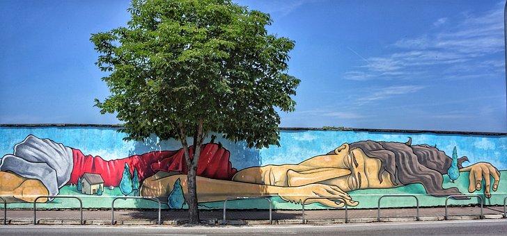 Sleeping, Giant, Cartoon, Character, Street, Art