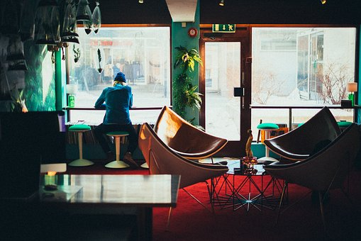 Restaurant, Window, Glass, Chair, Table, People, Woman