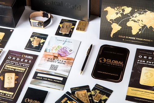 Gold, Chip, Sticker, Card, Business, Brochure, Pen