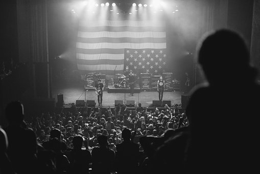 Black And White, Concert, People, Crowd, American, Flag