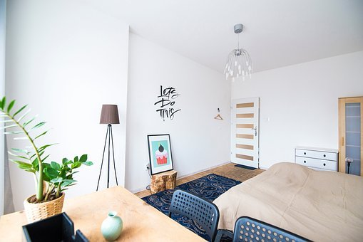 Bed, Table, Interior, Plant, Lampshade, Frame, Design