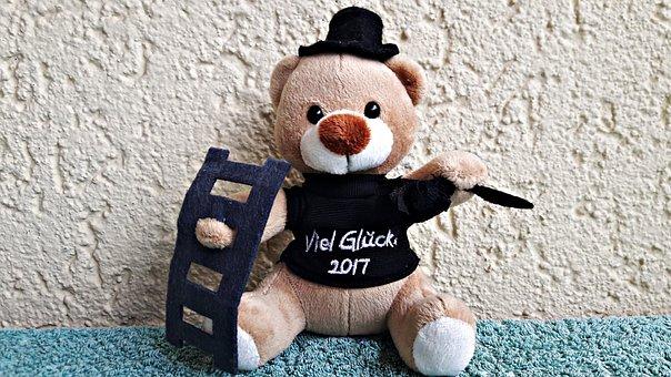 Teddy Bear, Chimney Sweep, Happiness, Ladder
