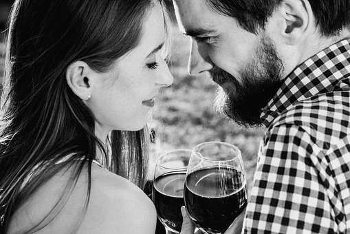 People, Man, Woman, Wine, Couple, Intimate, Love, Happy