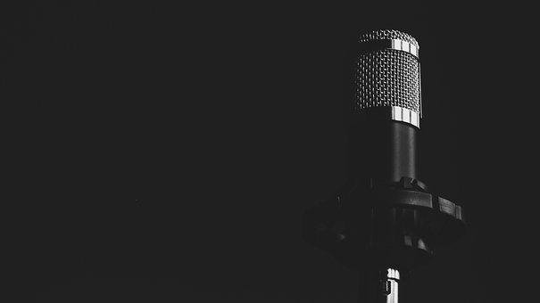 Microphone, Music, Black And White, Steel, Audio