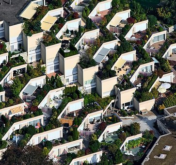 Aerial, View, Houses, Green, Plant, Nature, Outdoor