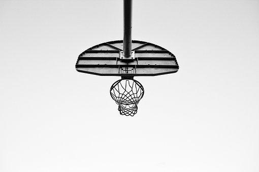 Court, Ring, Sport, Basketball, Net, Black And White