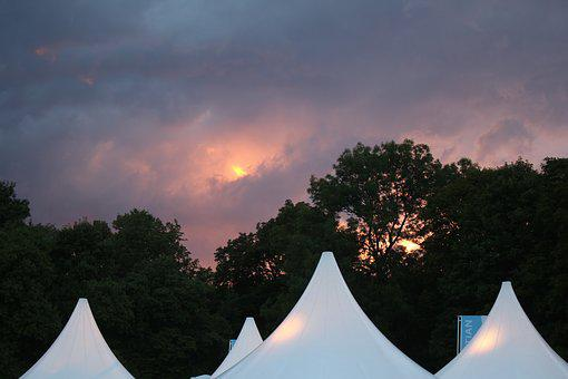 Sunset, Thunderstorm, Clouds, Tents, Sky, Dusk