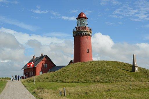 Denmark, Lighthouse, North Sea, Holiday, North
