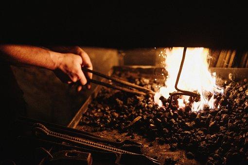 Fire, People, Man, Smith, Blacksmith, Heat, Smoke, Ash