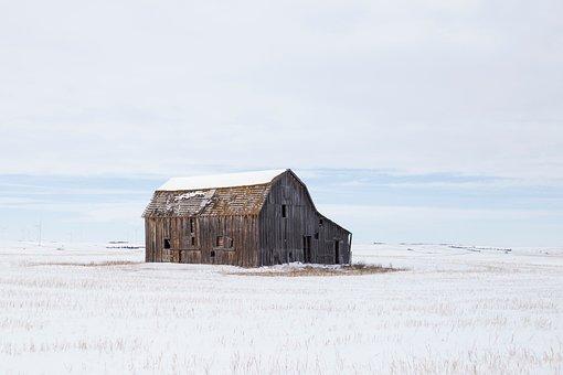 House, Cabin, Barn, Clouds, Sky, White, Grass, Field