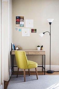 Table, Chair, Desk, Lamp, Room, Carpet, Books, Pens