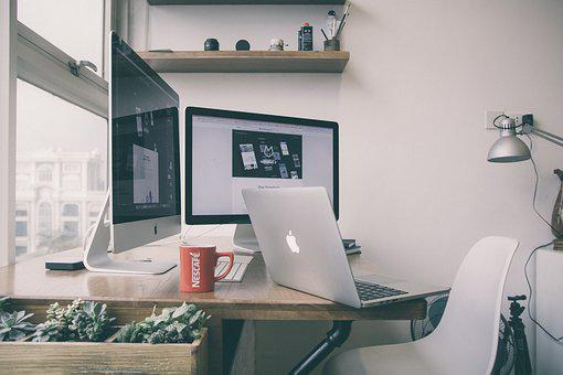 Table, Chair, Desk, Lamp, Room, Office, Laptop, Macbook