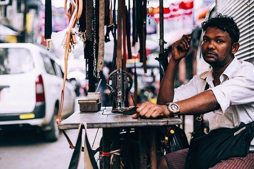 People, Man, Vendor, Repair, Accessories, Belt, Table