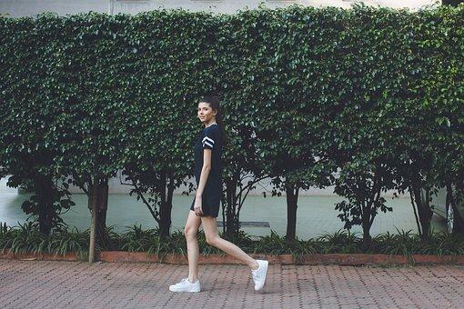 People, Woman, Walk, Tall, Slim, Fashion, Dress, Shoes