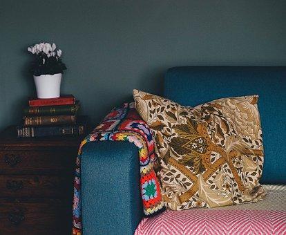 Sofa, Couch, Pillow, Book, Flower, Vase, Inside