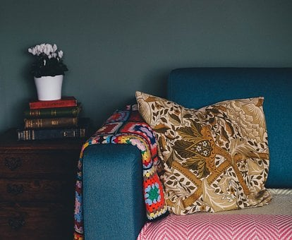 Sofa, Couch, Pillow, Book, Flower, Vase, Inside