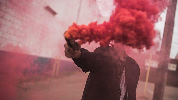 Man, Guy, Smoke, Red, Color, Wall, Bricks, Post, Street