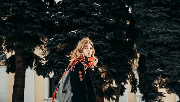 People, Woman, Beauty, Fashion, Cold, Weather, Scarf