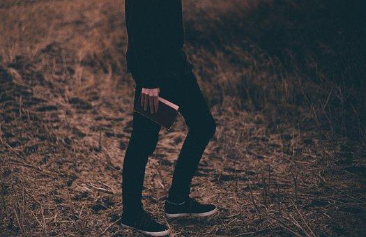Man, Guy, Book, Grass, Fashion, Hand, Black, Field