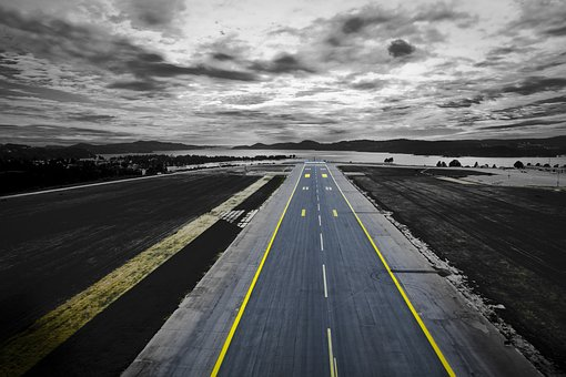 Road, Highway, Fly Off, Airplane, Clouds, Sky, Dark