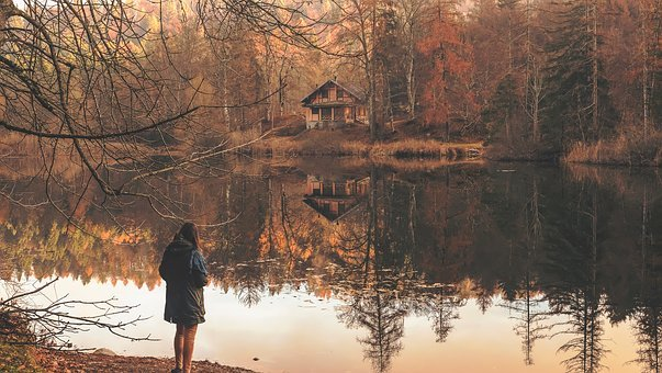 People, Woman, Alone, Reflection, Cabin, House, Home