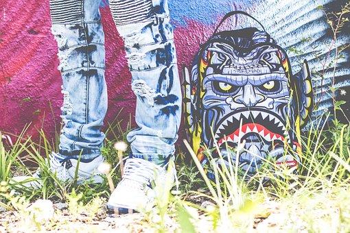 Art, Graffiti, Shoes, Ripped, Jeans, Grass, Wall