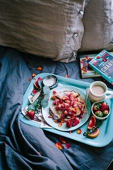 Breakfast, Pancake, Strawberries, Tray, Flour, Bed