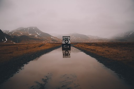Road, Vehicle, Mountains, Reflect, Clouds, Grass, Fog