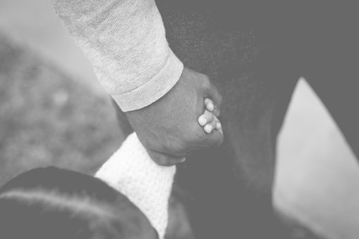 Daughter, Girl, Father, Holding, Hands, Black And White