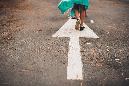 Lane, Arrow, Feet, Dress, Road, Walking, Dried, Grass