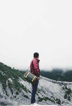 Adventure, Fog, Guy, Man, People, Landscape, Clouds